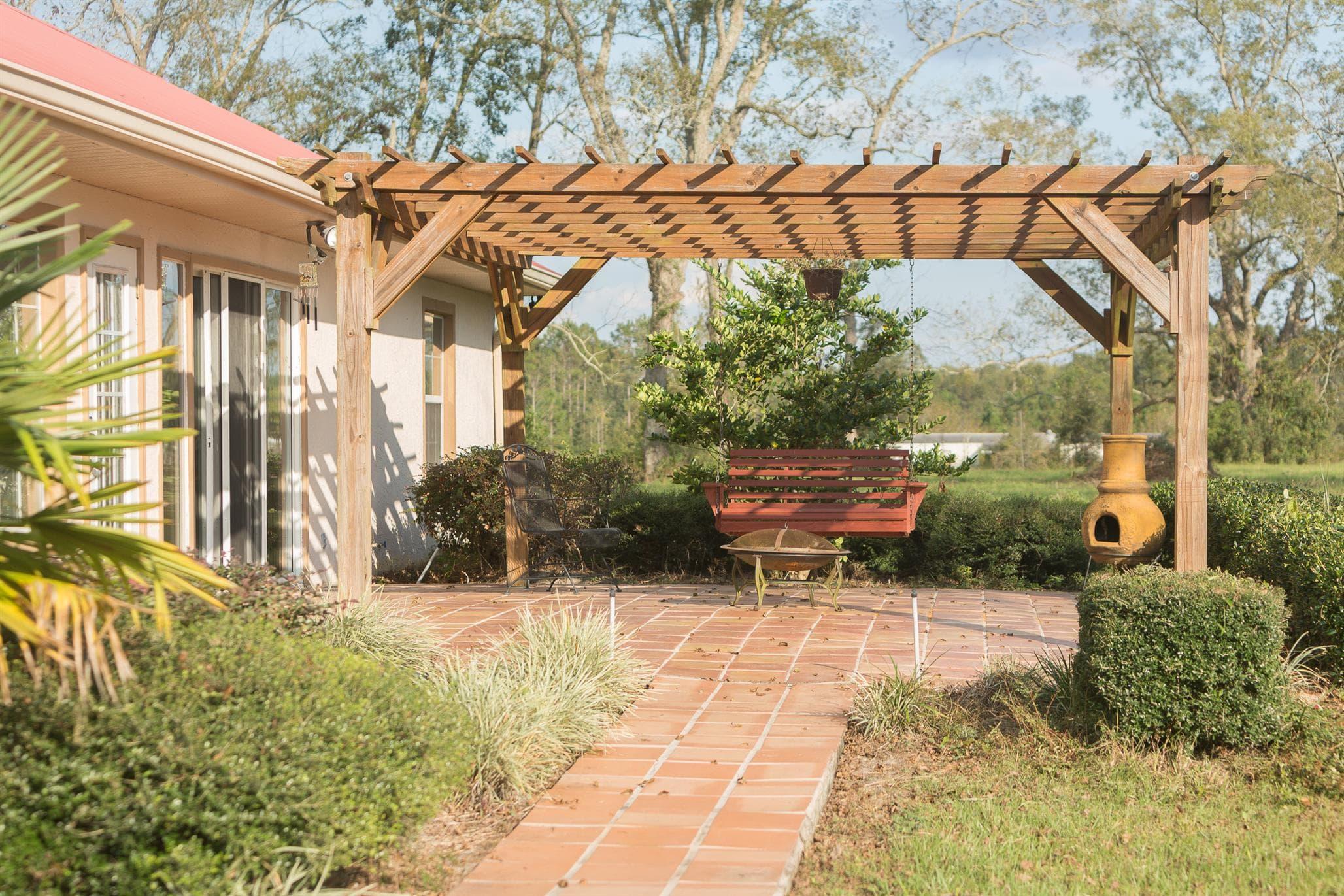 Stone terrace on spanish style home in Live Oak FL