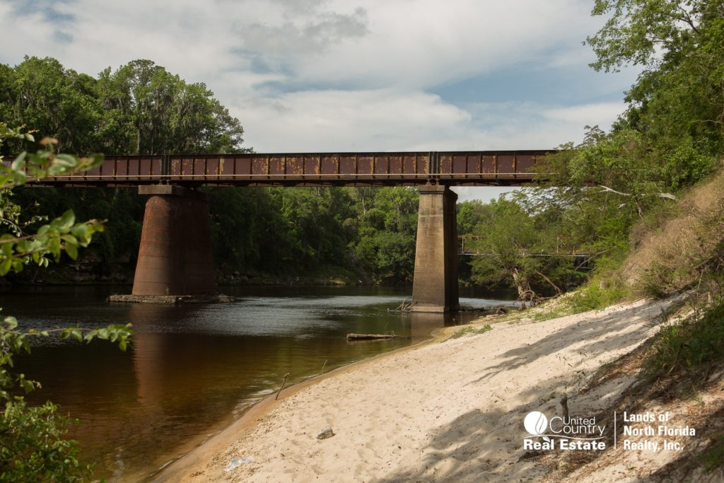 Present day train trestle bridge at Ellaville over the Suwannee River, with some white sand beach on the banks