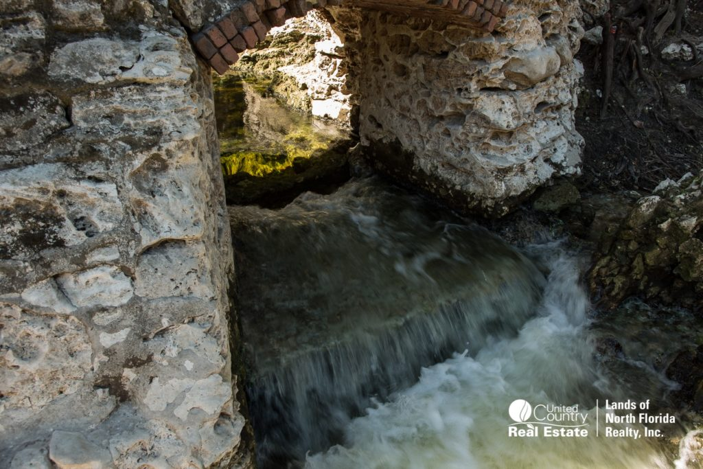 Fresh spring water exits the old Suwannee Springs bath house, into the Suwannee River