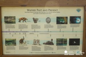 Kiosk with history of the property Peacock Springs State Park is now on